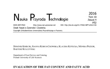 "Publikacja naukowa ""Evaluation of the fat content and fatty ACID profile including trans fatty acids (TFA) in confectionery products available on the polish market"""